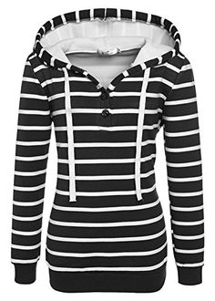 ef03bc64db Womens Causal Long Sleeve Buttons Hoodies Stripe Banded Shirt Blouse Top  Stripes Fashion, Jumper,