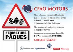 CFAO Motors - Joyeuses Pâques. Tél: 800 2012