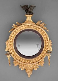 A Regency Carved Giltwood Girandole Mirror Convex Mirror, Mirror Mirror, Neoclassical, Saved Items, Light Fittings, Large Art, Decoration, Regency, Antique Furniture
