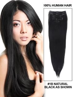 """Silky Straight Natural Black(#1B) Clip in Hair Extensions Description:  14"""" 7 Piece Silky Straight Clip In Human Hair Extension - Natural Black(#1B) Made of 100% human hair that can be dyed, heated and styled to match your own hair perfectly. Exquisite machine stitched craft makes hair secure in the weft. Please Note: Actual hair color may vary slightly from colors shown due to lighting, screen resolution, and settings.  16"""" inch 7 Piece Silky Straight Clip In Human Hai..."""