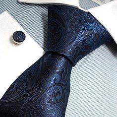 3PC Blue and Black Silk Paisley Necktie Set FE1145