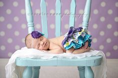Purple, turquoise, lime and white polka dot ruffle bloomers diaper cover newborn baby infant toddler girl