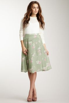 Charlotte Ronson Pintuck Midi Skirt