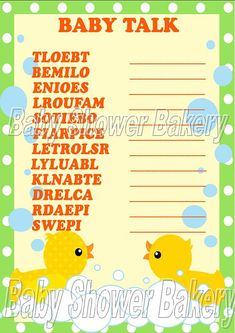 See which baby shower guest can unscramble these baby related words first with this printable rubber duck themed shower game! $5.00