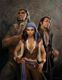 Party of 3 f Rogue Thief Pirate m Half Orc Monk m Bard Rapier Urban City undercity river coastal by todd lockwood Pirate Art, Pirate Woman, Pirate Life, Fantasy Inspiration, Story Inspiration, Character Inspiration, Male Character, Character Portraits, Fantasy Portraits