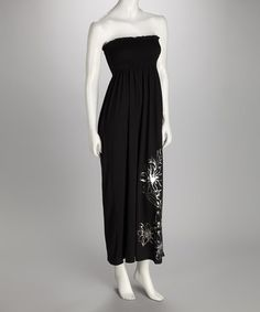 Take a look at this Black Smocked Maxi Dress by Fashion Instincts on #zulily today!