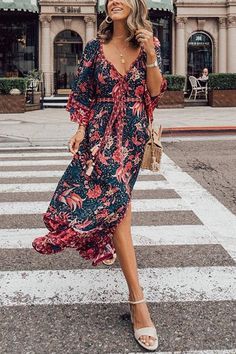 Casual Vacation Maxi V-Neck Polyester Print Sleeves Print Floral A-line Dresses, veryvoga Kimono Fashion, Boho Fashion, Petal Sleeve, Floral Print Maxi Dress, Boho Outfits, Half Sleeves, Cotton Dresses, White Lace, Sleeve Styles