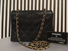 6f0b56b6d3be CHANEL Authentic Vintage Black Lambskin Mini Flap Crossbody Handbag  #Chanelhandbags