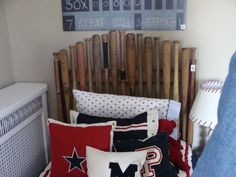 Woulda Loved A Baseball Bat Headboard In My Room Boys Theme Kids Rooms Red White And Blue Decor