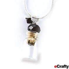 "ECRAFTY.COM :: Crystal Topped Wish Keeper Mini Bottle Necklaces ~ So sweet! For weddings or tooth fairy or birthday or Christmas or graduation or Mother's Day ~ Fully assembled tiny little crystal-topped 3/4"" mini bottle necklace on our 18 - 22"" silver plated snake chain necklace. Perfect little jeweled message in a bottle charm or memento, memory keeper. http://www.ecrafty.com/c-442-mini-glass-bottles.aspx?pagenum=1===newarrivals=60"