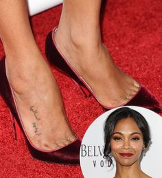 """Pin for Later: Jaime King Got an Elegant Rose Tattoo, Plus More Celebrity Ink Zoe Saldana In addition to the star tattoo on her left ankle, Zoe also got the Arabic words, """"I want to ask her,"""" inscribed on her foot.  Source: Getty"""