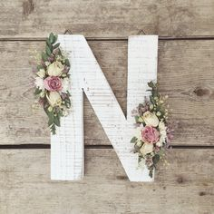 Wild dried roses, dried eucalyptus, pepper grass, caspia and other botanicals make up this unique letter.  Dried Wildflower Wooden Letter N   Floral Letter   Wooden Letter   Shabby Chic   Boho   Nursery Decor   Botanical Art   Woodland Theme   Initial   Ad
