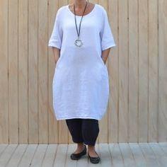 703e27fb414 Lagenlook Tunic Dress Plain Linen – White Cotton Linen