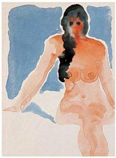 """Georgia O'Keeffe - """" Nude Series IV """", 1917 - Aquarelle - 30,5 x 22 cm"""