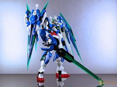 MG 1/100 00 Qan[T] Azure Saber Custom Build - Gundam Kits Collection News and Reviews