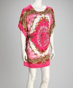 Take a look at this Pink & Gold Arabesque Cape-Sleeve Dress by Just Love on #zulily today!