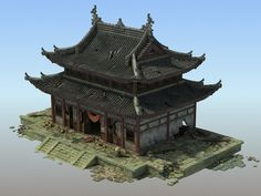 Shabby Chinese temple 3D Model in Buildings 3DExport