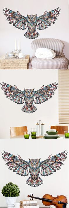 Owl Eagle Hawk Children Kids Bedroom Wall Sticker For Kids Rooms Living Room Wall Painted Tatoo Home Decor Art Decals $3.24