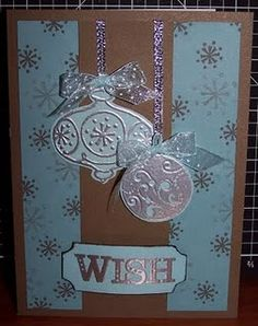 My favorite handmade Christmas card.  Heat embossing the ornaments was a blast!