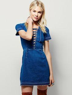 Free People x Saylor Denim Lace-up Dress
