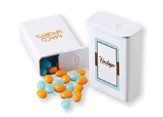 Slider Tin. Our Slider Tin holds a variety of candies or custom colored jelly beans to coordinate with your logo or promotional theme. Inspired by popular packaging from the past, the slider tin is a unique and reusable giveaway.  Create a photo-quality image in full color for 1 setup charge and no running charges! For details on how to order this item with your logo branded on it contact ww.fivetwentyfour.ca