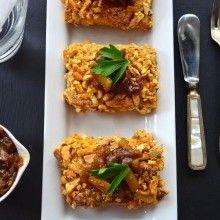 Cashew and Pretzel Crusted Tofu with sweet onion relish- Vegan Thanksgiving - VeggieFocus http://veggiefocus.com