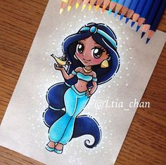 Jasmine as a Chibi character Disney Drawings Sketches, Cute Disney Drawings, Disney Princess Drawings, Disney Princess Art, Cute Drawings, Jasmine Drawing, Jasmin Party, Pinterest Diy Crafts, Drawing Cartoon Faces
