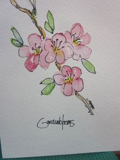 Fruit Trees in Bloom Watercolor Card by gardenblooms on Etsy, $3.50: