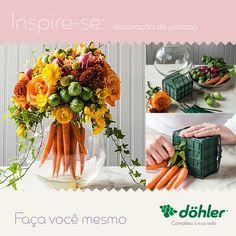A mesa da sala merece estar em clima de páscoa. Inspire-se e crie o seu próprio arranjo de flores! #diy #páscoadöhler