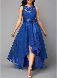 Vintage Lace Maxi Dress Women Sleeveless High Low Belted Irregular Swing A-Line Long Club Party Dress Vestidos 2019 Blue XXXL Lace Party Dresses, Elegant Dresses, Sexy Dresses, Beautiful Dresses, Evening Dresses, Casual Dresses, Dress Prom, Dress Formal, Sleeveless Dresses