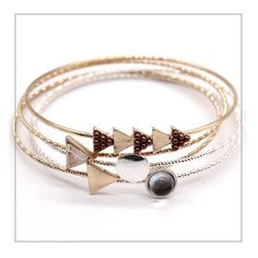 5pcs/set Vintage Bangles Simple Style Trendy Metal Round Triangle Bracelet & Bangle For Women