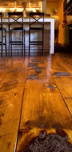 Carlisle Wide Plank Floors Eastern Hit or Miss White Pine in a Restaurant. The quality of a Carlisle floor is matched only by that of the customer experience. Wide Plank Flooring, Wooden Flooring, Hardwood Floors, Pine Floors, Log Homes, My Dream Home, My House, Sweet Home, House Design