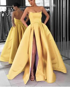 Lavender Strapless Formal Gowns Women 2019 Prom Dresses Long with Slit Cute Prom Dresses, Pretty Dresses, Formal Gowns, Strapless Dress Formal, Marie, Evening Dresses, The Dress, Dress Long, Lifting Motivation