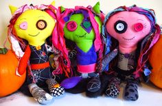 A tutorial for these cute monster dolls on my blog! Monster Dolls, Cute Monsters, Doll Patterns, Tweety, Minions, Rag Dolls, Handmade Dolls, Fictional Characters, Google Search