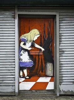 Mission district San Francisco Alice in Wonderland street art  i love alice in wonder land :)