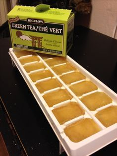 Green tea ice cubes for ice water. Great natural energy source throughout the day. As your cubes melt drink gets more tea.  I made one cup of hot water w three tea bags (replace one with dandelion root tea for a little detox). I then diluted it a bit w water and poured in ice tray.