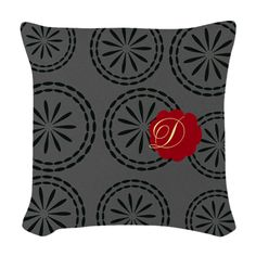Custom Pretty Retro Style Floral Red Grey Woven Throw Pillow.