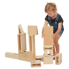 Junior Hollow Block Play Set, Lightweight Wooden Building Blocks for Kids' Play, Educational Toy with Assorted Shapes, Natural Finish Pieces) Wooden Building Blocks, Wooden Blocks, Block Play, Kids Blocks, Stacking Blocks, Wooden Buildings, Math Concepts, Learning Through Play, Toddler Toys