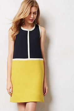 Piped Colorblock Shift by Orla Kiely Simple Dresses, Cute Dresses, Casual Dresses, Summer Dresses, Dress Outfits, Fashion Dresses, Fashion Coat, Vestidos Vintage, Colorblock Dress