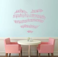 "Amazon.com: 23.4"" X 35.1"" Music Notes Stave Love Heart Wall Decal Sticker Home Decoration Removable Wall Art Decal Sticker Decor Mural DIY Vinyl Décor Room Home: Home & Kitchen"