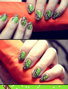 It Works! Nails - Black and Green, now we just need to add some BLING!