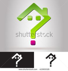 Logo for Real Estate Business. House Question Mark. Real estate Logo,home logo,house logo,property logo,vector logo. Creative Real Estate Vector Icons. Development logo. Green house home. House Icon. - stock vector