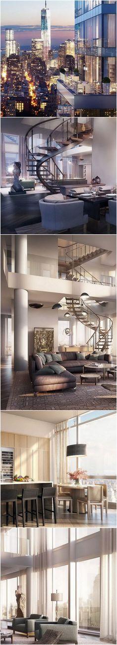 Luxury Penthouse, Luxury Condo, Luxury Homes Interior, Apartment Interior Design, Interior Exterior, Luxury Apartments, Modern House Design, Modern Interior Design, Apartamento New York