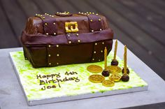 Treasure Chest Birthday Cake: Chocolate sponge with a hollow chocolate lid filled with gold coins.