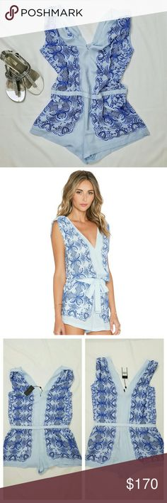 """BCBG MAX AZRIA Vance Romper Light Oasis Blue BCBGMaxAzria light blue, royal blue, and navy romper.  New with tags and gorgeous! 2 functional side pockets and elastic waist that is slightly stretchy. Lightweight fabric, slightly sheer.  Size M.  Measures approximately:  Waist - 17.75"""" flat across  Underarm to underarm - 22"""" flat across Strap top to bottom hem - 31"""" L Leg opening - 13.5"""" flat across  Inseam - 2.25"""" L BCBGMaxAzria Pants Jumpsuits & Rompers"""