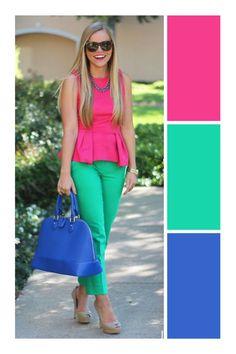 Looks Color Block Colour Combinations Fashion, Color Combinations For Clothes, Color Blocking Outfits, Fashion Colours, Colorful Fashion, Color Combos, Office Fashion Women, Fashion 2020, Look Fashion