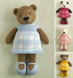 Toy knitting pattern for a girl bear with a plaid dress