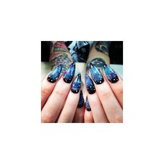Galaxy Nails czyli jak zrobić kosmiczne paznokcie ❤ liked on Polyvore featuring beauty products, nail care and nails