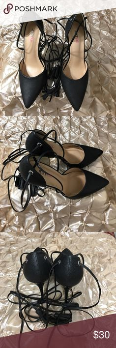 """Just Fab Pumps Black Pointy Toe Just Fab Pumps Black Pointy Toe Wrap Ankle Strap Approx 4"""" Heel Just Fab Shoes Heels"""