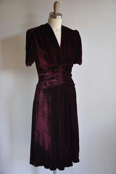 1930's burgundy velvet dress